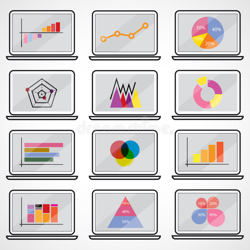 Diagramas dos gráfico de setores circulares da barra do ponto dos elementos do mercado dos dados comerciais gráficos ilustração do vetor