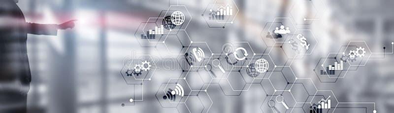 Diagramas e ?cones na tela do holograma Fundo horizontal do negócio do Web site dos meios mistos fotografia de stock