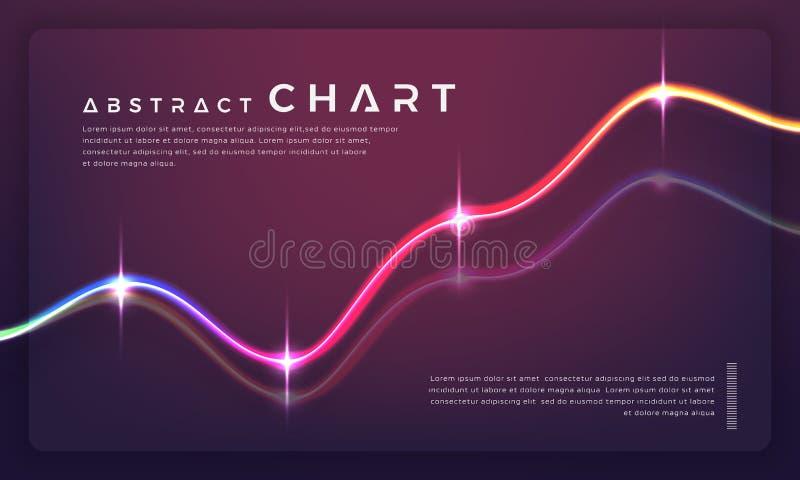Diagramas e gráficos de cartas na moda no fundo escuro ilustração royalty free