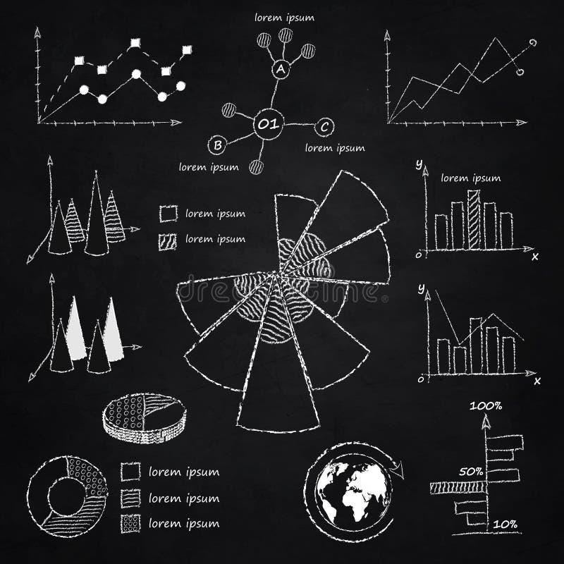 Diagramas infographic do giz ilustração stock