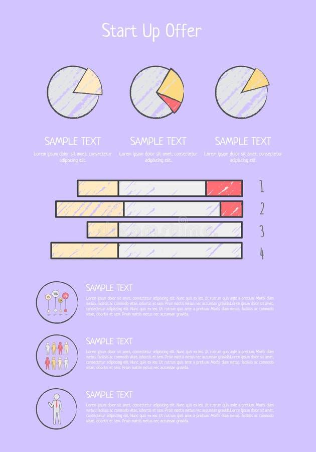 Diagramas Startup do cartaz da oferta, carta de torta Elemens ilustração stock