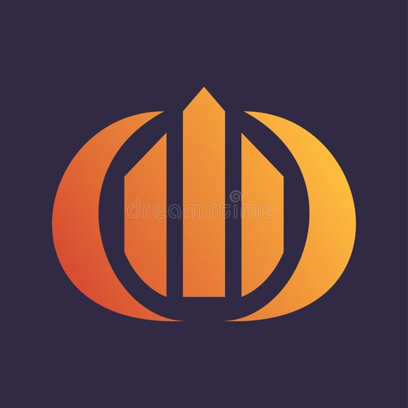 Diagramcirkelbyggnad Logo Vector stock illustrationer