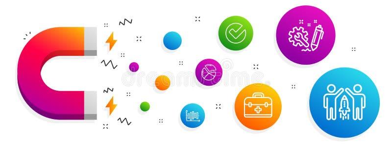 Diagramdiagram, första hjälpen och att verifiera symbolsuppsättningen Teknik-, pajdiagram och partnerskaptecken vektor stock illustrationer