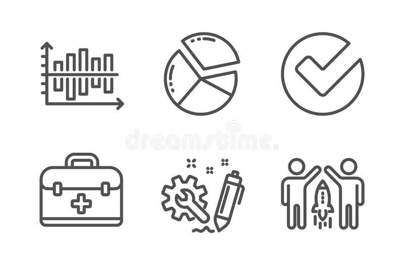 Diagramdiagram, första hjälpen och att verifiera symbolsuppsättningen Teknik-, pajdiagram och partnerskaptecken vektor vektor illustrationer