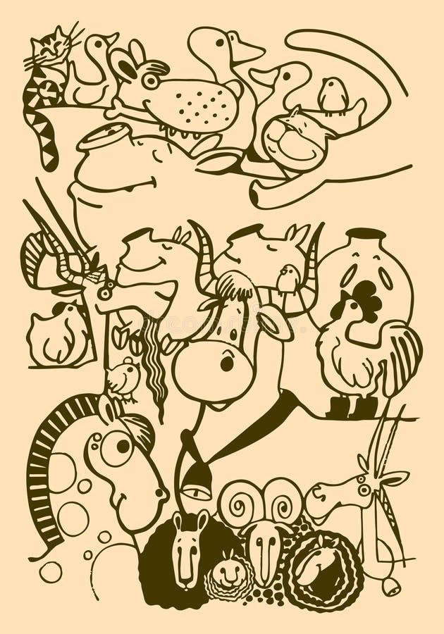 Diagramet av en stiliserad ko, hästen, fåret, får, lammet, geten, höna, tuppen, svinet, svin, katten, hunden, anden, katten, spar vektor illustrationer