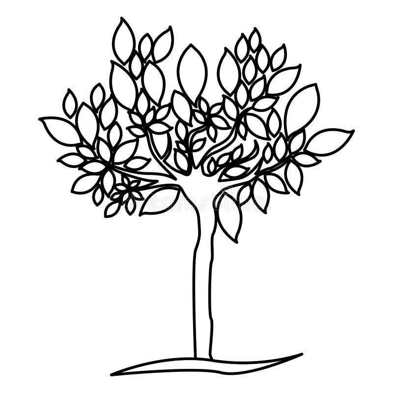 diagramet träd med många lämnar symbolen royaltyfri illustrationer