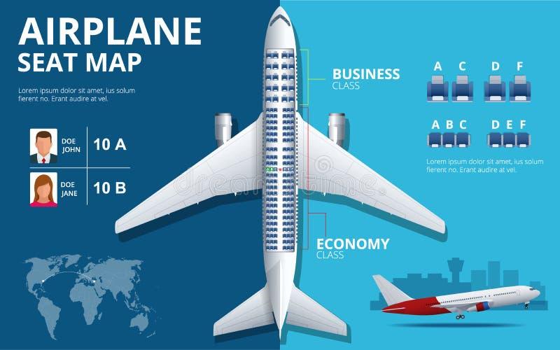 Diagramflygplanplats, plan, av flygplanpassageraren Bästa sikt för flygplanplatsplan Affärs- och ekonomiklassflygplan royaltyfri illustrationer