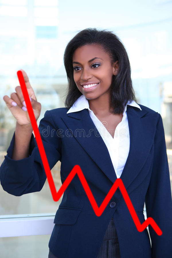 Diagramgraf Som Gör Kvinnan Arkivfoton