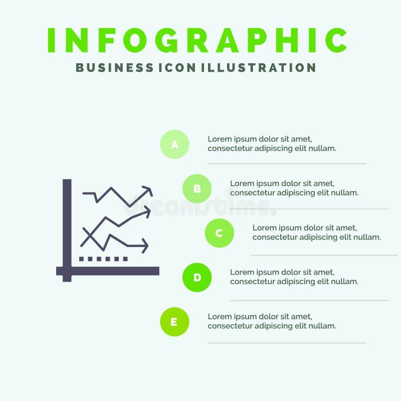 Diagramm, Analyse, analytisch, Analytics, Diagramm, Schritt-Darstellungs-Hintergrund Daten-fester Ikone Infographics 5 stock abbildung