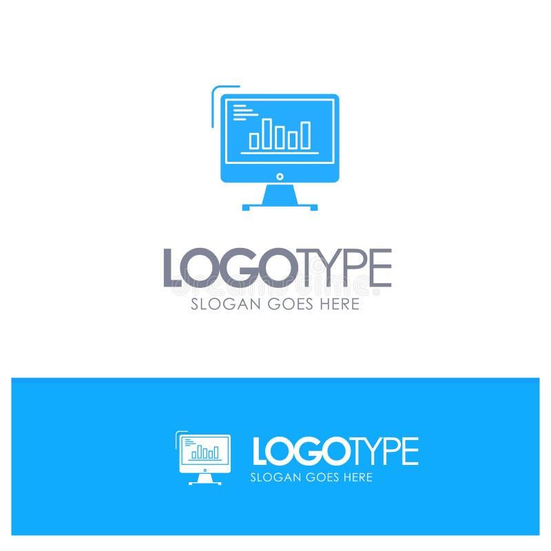 Diagramm, Analytics, Geschäft, Computer, Diagramm, Marketing, neigt blaues festes Logo mit Platz für Tagline lizenzfreie abbildung