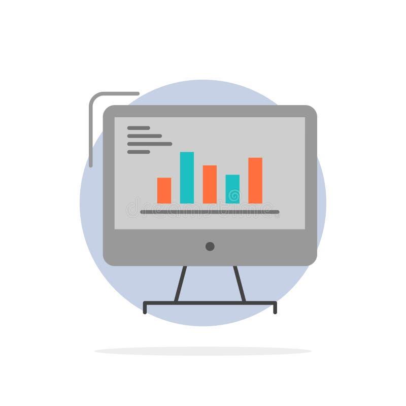 Diagramm, Analytics, Geschäft, Computer, Diagramm, Marketing, neigt flache Ikone Farbe des abstrakten Kreis-Hintergrundes stock abbildung