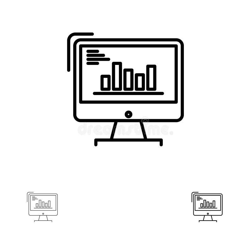 Diagramm, Analytics, Geschäft, Computer, Diagramm, Marketing, neigt mutige und dünne schwarze Linie Ikonensatz stock abbildung