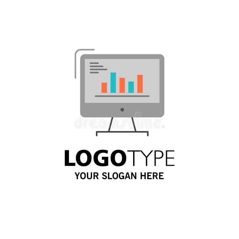 Diagramm, Analytics, Geschäft, Computer, Diagramm, Marketing, Tendenz-Geschäft Logo Template flache Farbe vektor abbildung
