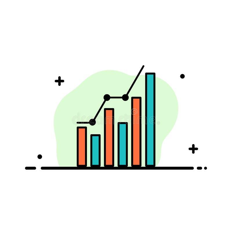 Diagramm, Analytics, Geschäft, Diagramm, Marketing, Statistiken, Tendenz-Geschäfts-flache Linie gefüllte Ikonen-Vektor-Fahnen-Sch stock abbildung