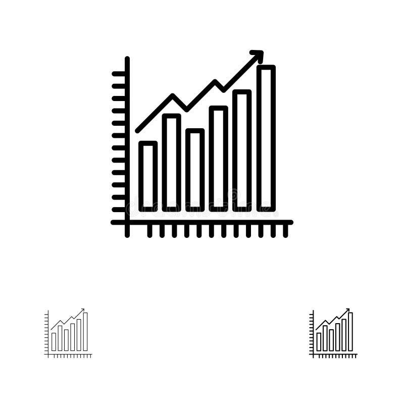Diagramm, Analytics, Geschäft, Diagramm, Marketing, Statistiken, Tendenzen mutig und dünne schwarze Linie Ikonensatz stock abbildung