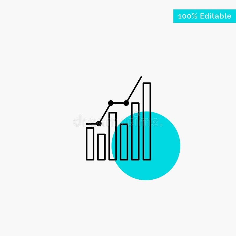 Diagramm, Analytics, Geschäft, Diagramm, Marketing, Statistiken, Tendenztürkishöhepunktkreispunkt Vektorikone stock abbildung
