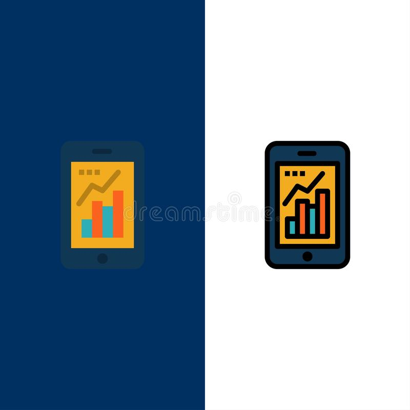 Diagramm, Analytics, Informationen grafisch, bewegliche, bewegliche Diagramm-Ikonen Ebene und Linie gefüllte Ikone stellten Vekto stock abbildung