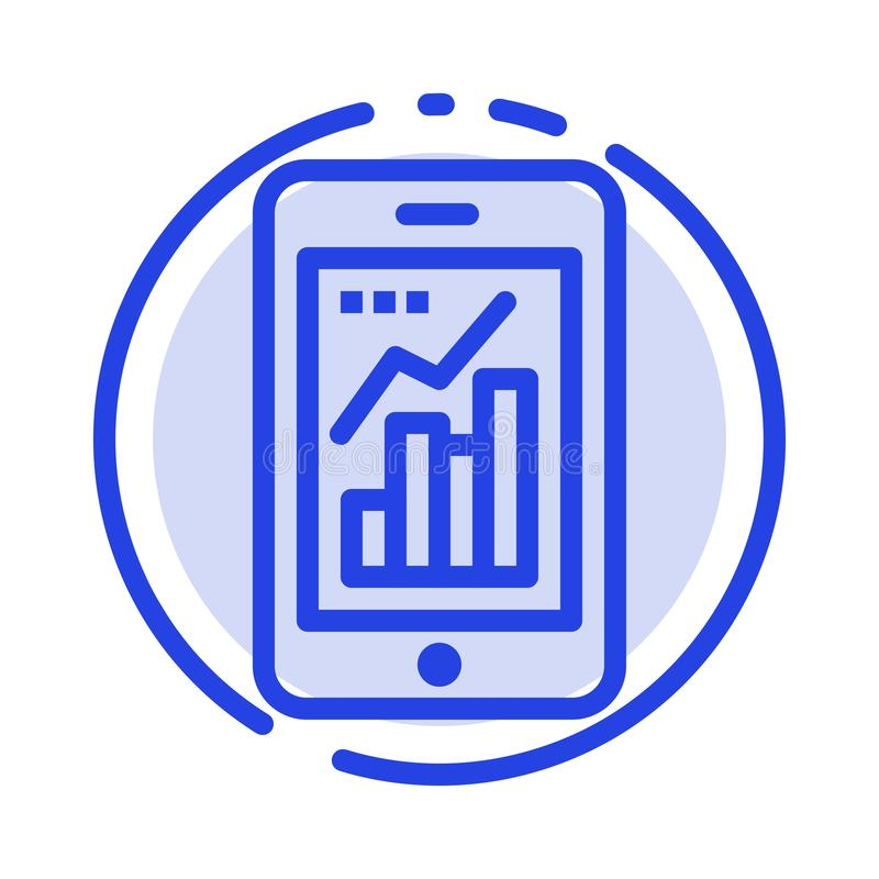 Diagramm, Analytics, Informationen grafisch, bewegliche, bewegliche Linie Ikone der Diagramm-blauen punktierten Linie stock abbildung