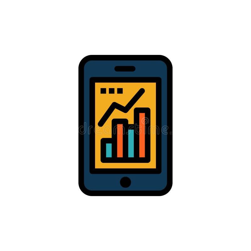 Diagramm, Analytics, Informationen grafisch, bewegliches, bewegliches Diagramm-flache Farbikone Vektorikonen-Fahne Schablone stock abbildung