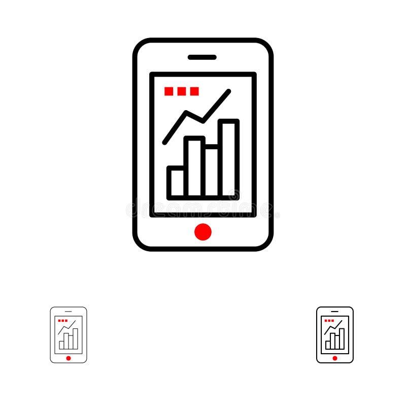 Diagramm, Analytics, mutige und dünne schwarze Linie Ikonensatz des Informations-grafischen, beweglichen, beweglichen Diagramms stock abbildung