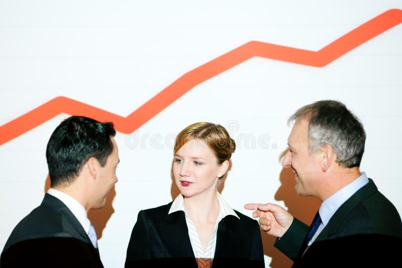 Diagramm auf der Wand mit Geschäftsteam mit Diagramm (v stockbilder