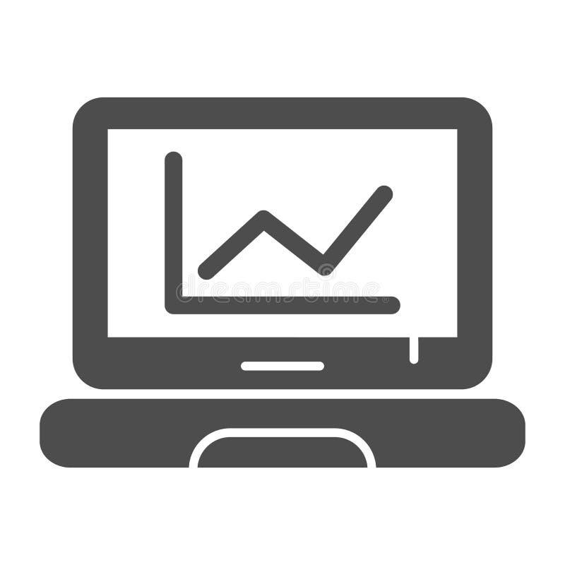 Diagramm auf fester Ikone des Laptops Computerdiagramm-Vektorillustration lokalisiert auf Wei? Diagramm auf Schirm Glyph-Artentwu vektor abbildung