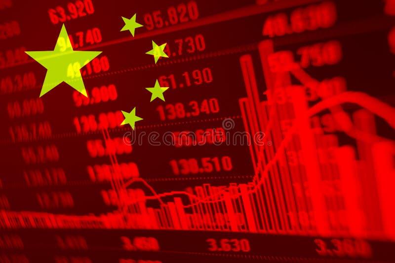 Diagramm auf Lager mit Flagge von China stockfotos