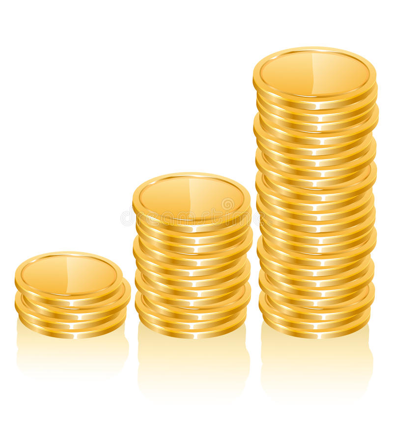 Diagramm der Goldmünzen stock abbildung