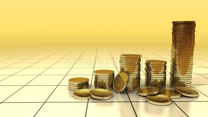 Diagramm der Goldmünzezunahme auf Hintergrund vektor abbildung