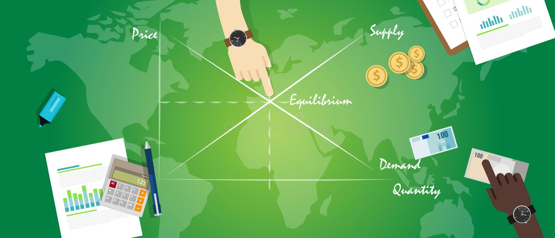 Diagramm der wirtschaftlichen Theorie des Marktgleichgewicht-Balancenwirtschaftskonzeptes Angebot-Nachfrage vektor abbildung