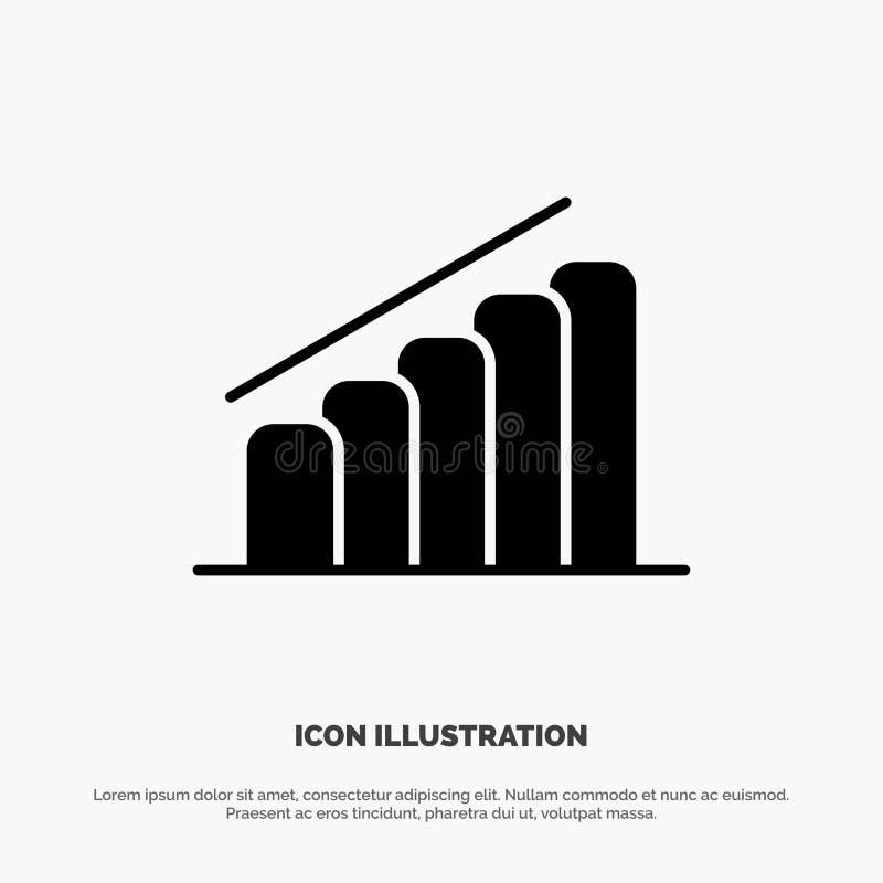 Diagramm, Fortschritt, Bericht, Analyse fester Glyph-Ikonenvektor stock abbildung