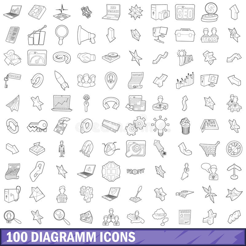 100 diagramm icons set, outline style. 100 diagramm icons set in outline style for any design vector illustration royalty free illustration