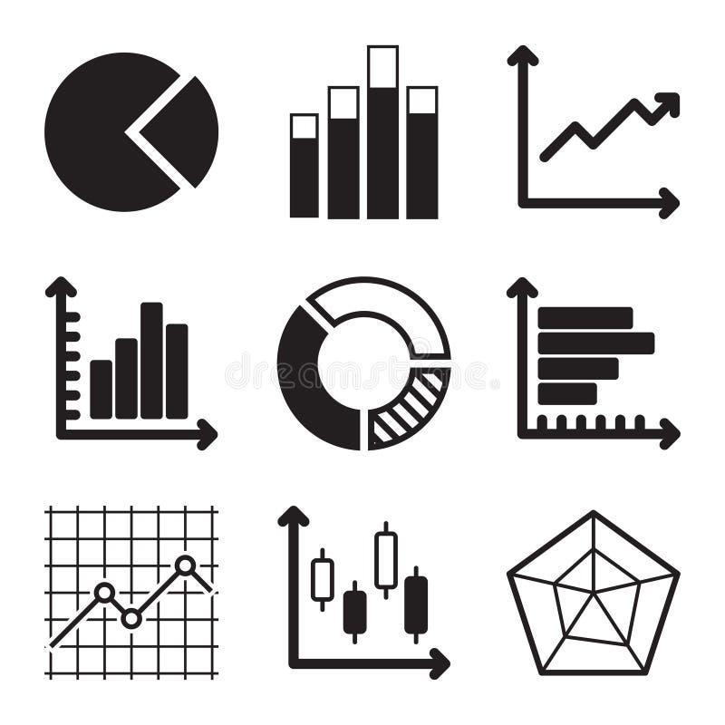 Diagramm-Ikonen eingestellt stock abbildung