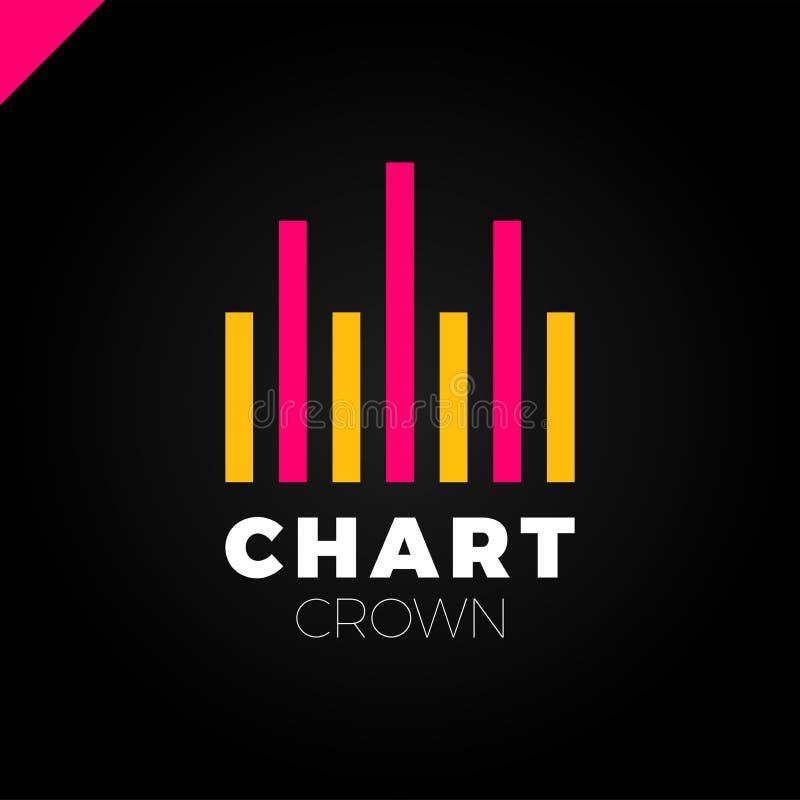Diagramm-Krone Infographic-Rate Diagramm- oder Ratenikonenfirmenzeichen Wachsendes Diagramm simbol markierung stock abbildung