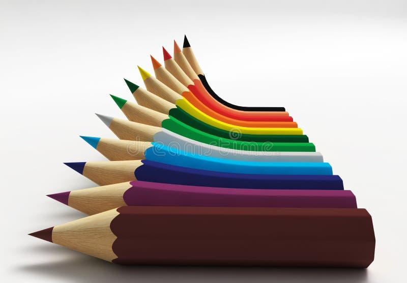 Diagramm mit Bleistiften lizenzfreie abbildung