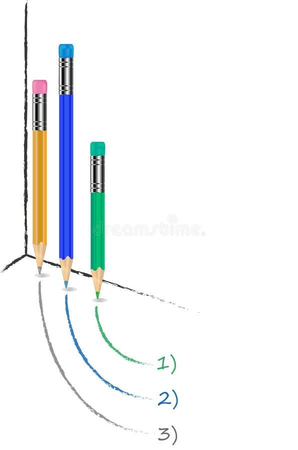 Diagramm mit 3 Bleistiften stockfotografie