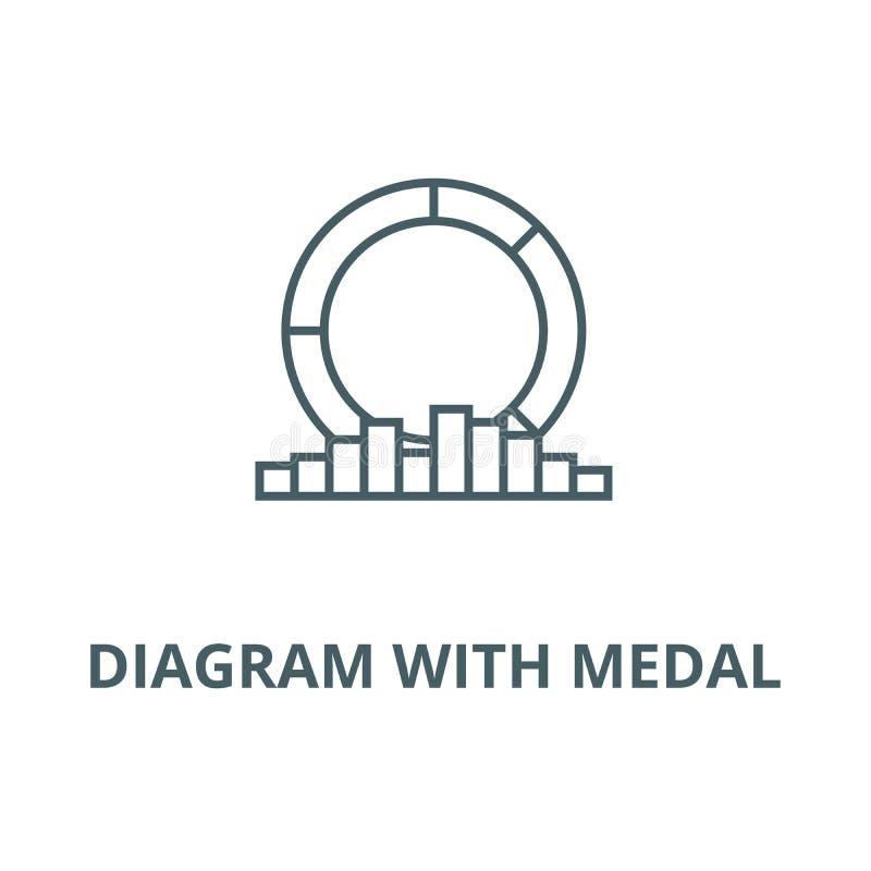 Diagramm mit Medaillenlinie Ikone, Vektor Diagramm mit Medaillenentwurfszeichen, Konzeptsymbol, flache Illustration lizenzfreie abbildung