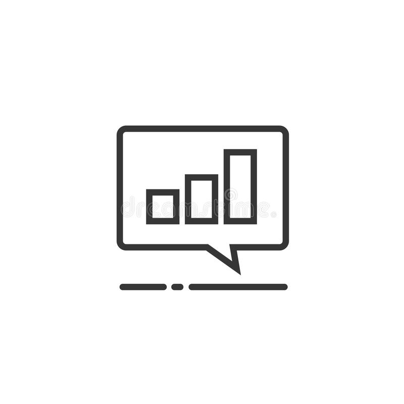 Diagramm- oder Rechnungsergebnisdatenikonen-Vektorsymbol, Linie Kunstentwurfspiktogramm von Analytik oder Analysediagramm im Chat vektor abbildung