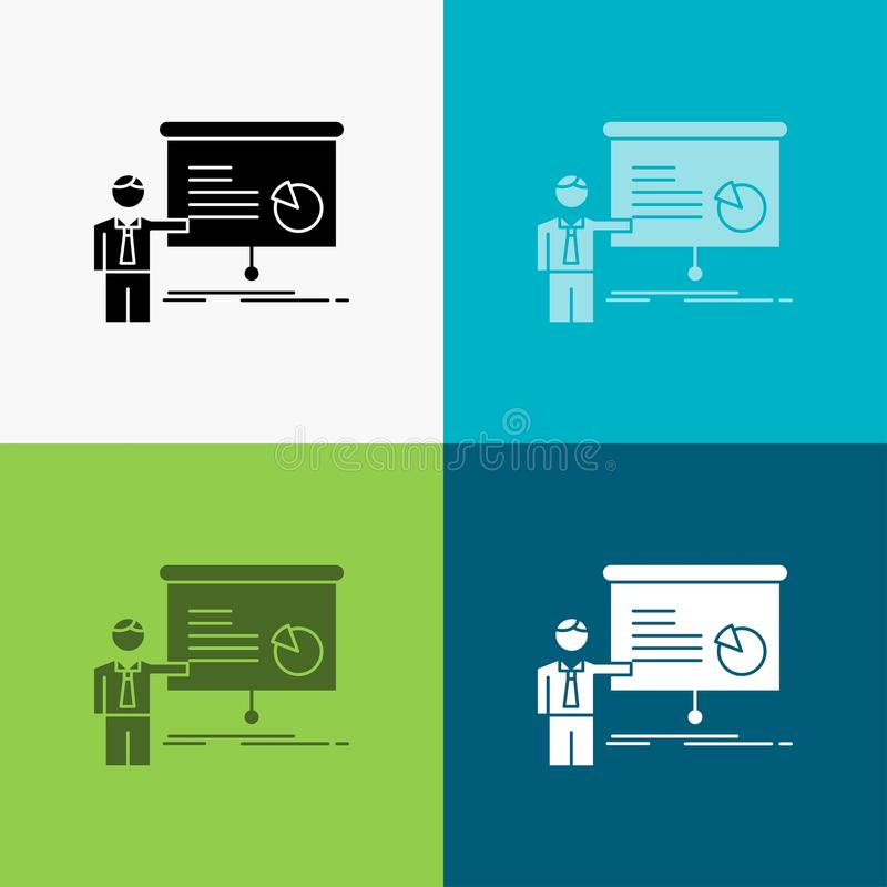 Diagramm, Sitzung, Darstellung, Bericht, Seminar Ikone über verschiedenem Hintergrund Glyphartdesign, bestimmt f?r Netz und APP E lizenzfreie abbildung