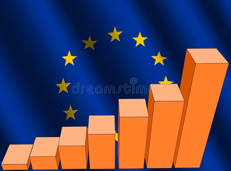 Diagramm und EU-Markierungsfahne lizenzfreie abbildung