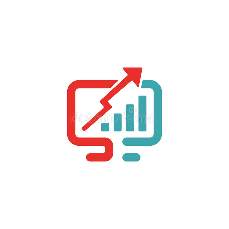 Diagramm vector flat icon. Gradation sign in two colors on white background. improvement, upgrade illustration on pc laptop royalty free illustration