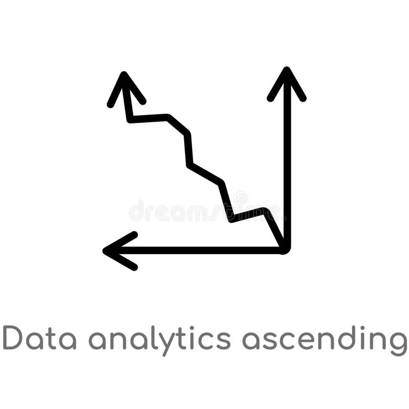 Diagramm-Vektorikone der Entwurfsdaten Analytics-aufsteigenden Linie lokalisiertes schwarzes einfaches Linienelementillustration  vektor abbildung