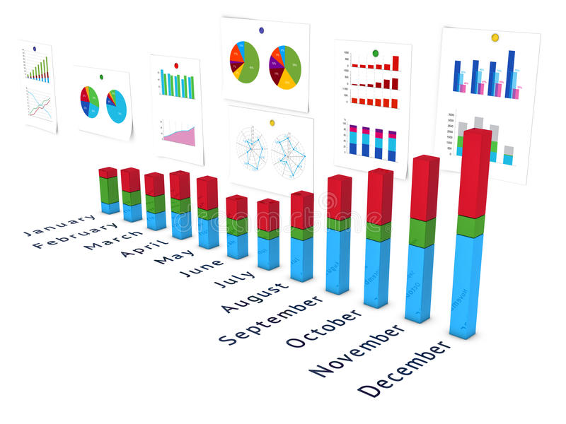 Diagramm with wall of charts in perspective. Diagramm with wall of charts and name of months. Isolated on white stock illustration