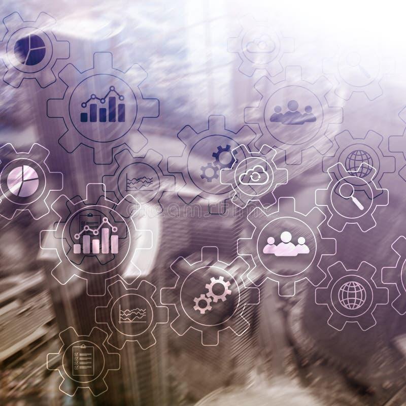 Diagramma astratto di processo aziendale con gli ingranaggi e le icone Concetto di tecnologia di automazione e di flusso di lavor immagine stock libera da diritti