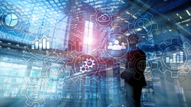 Diagramma astratto di processo aziendale con gli ingranaggi e le icone Concetto di tecnologia di automazione e di flusso di lavor fotografie stock libere da diritti