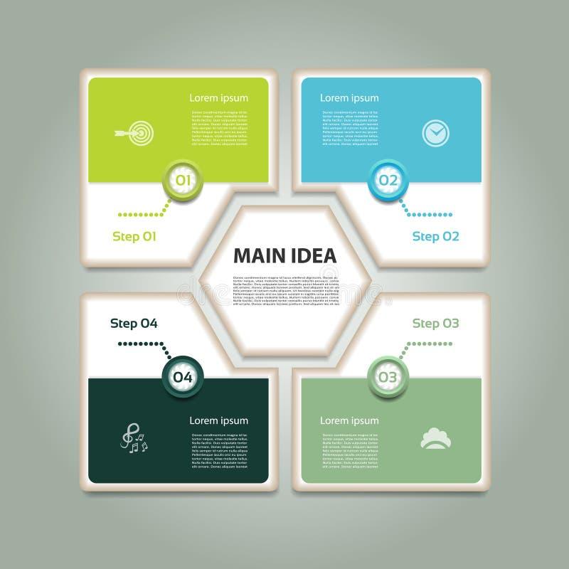 Diagramma ciclico con quattro punti ed icone Fondo di vettore di Infographic illustrazione di stock