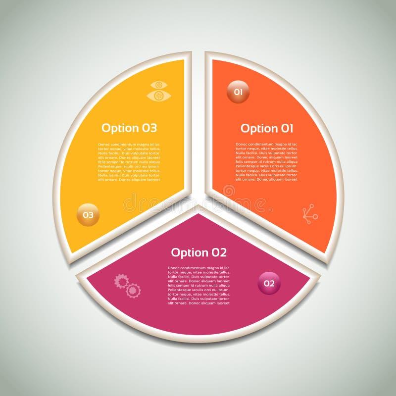 Diagramma ciclico con tre punti ed icone royalty illustrazione gratis
