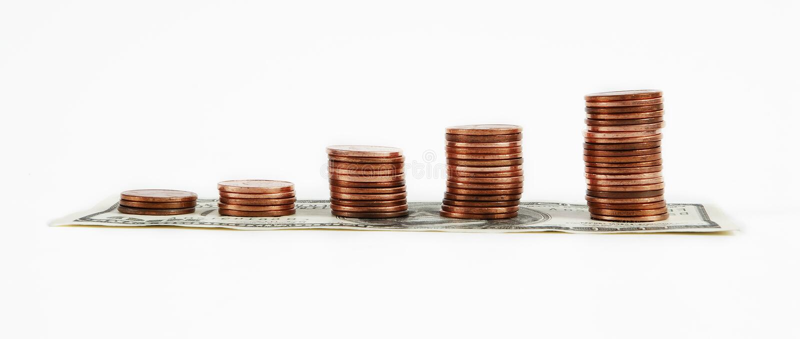Diagramma a colonna del penny fotografie stock libere da diritti