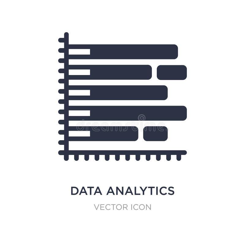diagramma a colonna di analisi dei dati di dati con la linea icona del discendente su fondo bianco Illustrazione semplice dell'el illustrazione vettoriale