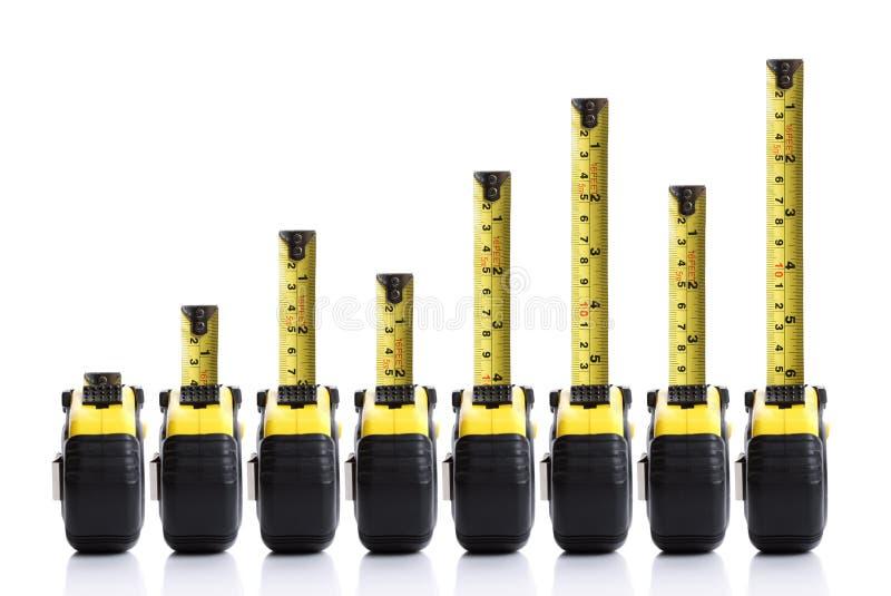 Diagramma a colonna di misura di nastro immagini stock